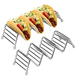 Taco Holder, Aiduy Stainless Steel Taco Rack Taco Stand Hold 3 or 4 Taco Shells Taco Truck Tray with Silicone Tips Microwave Safe for Backing, Grill, Oven, Soft and Hard Shell - Set of 2