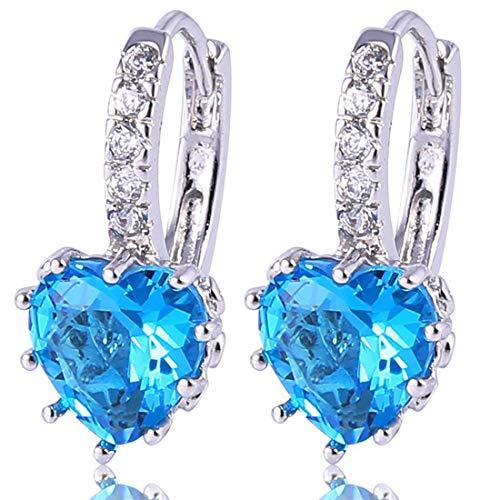 Jewelry Drop Heart Earrings (GULICX Girls Silver Tone Prong Cubic Zirconia Silver Tone Heart Pierced Drop Huggie Earrings Light Blue)
