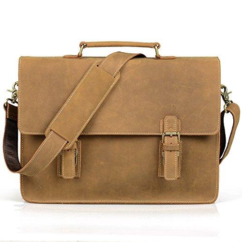 AIDERLY New Men's Leather Messenger Bag Executive Briefcase Laptop Bag,LJ7035 (Fawn) - Executive Briefcase Bag