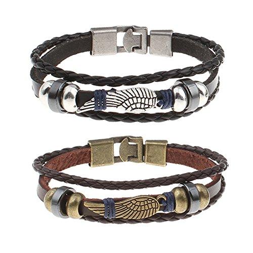 combo-2-for-1-eagle-wing-vintage-genuine-leather-3-strand-unisex-bracelet-hematite-men-women-comfort