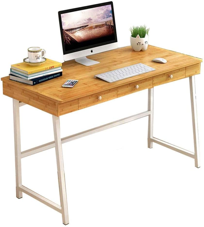 Carl Artbay Home&Selected Furniture/Multifunction Bamboo Tabletop Laptop Table with 3 Drawers Storage Desk Desktop Computer Desk Office Desk 120 58 65CM