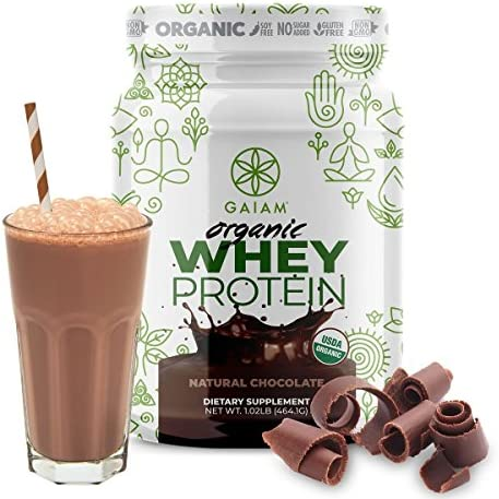 GAIAM Organic Whey Protein Made in USA, USDA Organic Certified, 0g Sugar, 19g-20g Protein Per Serving – 1lb Jar Natural Chocolate