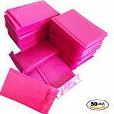 SES.CO 4x8 Inch Hot Pink Poly Water-proof Sturdy Bubble Mailers Self Seal Padded Envelopes for Shipping (50 Pack)