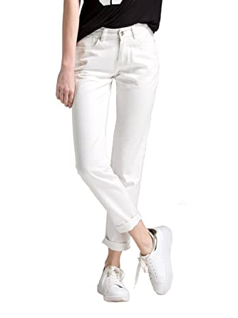 d54365fd Alice & Elmer Petite Women's Denim Loose Fit Straight Leg Ripped Holes  Boyfriend Jeans White Us