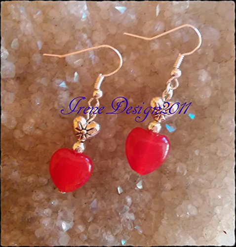 - Ruby Heart & Silver Heart Earrings