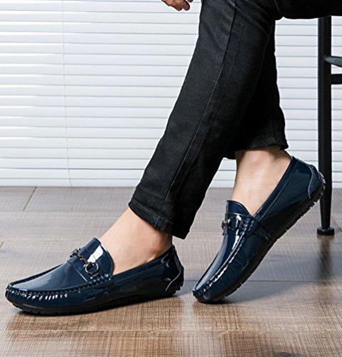 Casual Uomo Scarpe Guida Mocassini Scarpe Scuro Slip Blu On Anguang Pelle PU Loafers da AtqR11wd