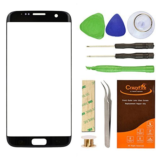 (CrazyFire Samsung Galaxy S7 Edge Black Replacement Front Outer Lens Glass Screen Repair Kit with 1MM Adhesive Tape +Tools Kit+ 1 Pair Tweezers+1 Roll Micro Wire for G935V G935P G935F G935T G935A)