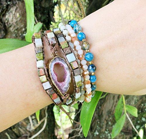Natural square shaped jaspers with Druzy stone | Triple Wrap Bracelet | Boho Rustic Pink Druzy Bracelet | Minimalist Jewelry | Boho Chic Style