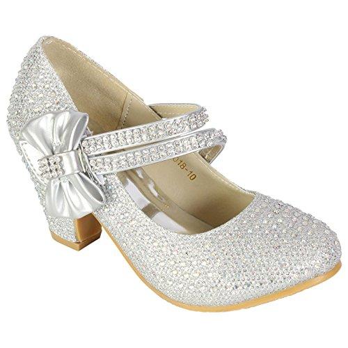 MYSHOESTORE , Sandales pour fille - Argent - Silver Diamante Bow, 28 EU enfant