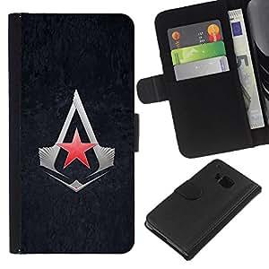 JackGot ( Asesinos Estrella ) HTC One M7 la tarjeta de Crédito Slots PU Funda de cuero Monedero caso cubierta de piel