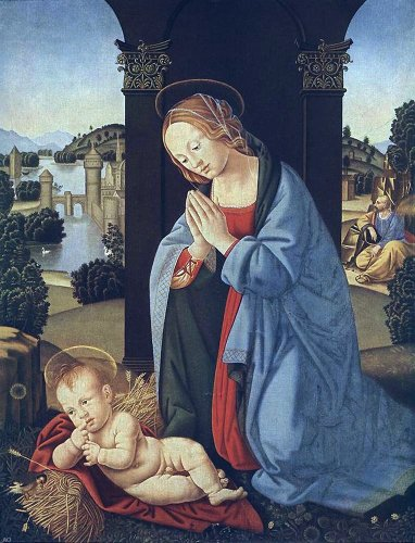 Lorenzo Di Credi The Holy Family - 21'' x 28'' 100% Hand Painted Oil Painting Reproduction by Art Oyster