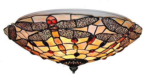 Tiffany Glass Ceiling Light, Retro Flush Mount Fixtures Handmade Shade Vintage Multicolor Lighting Lamps Hanging Pendant Lamp Fixture Stained Glass Ceiling Light 16 Inch Home Dining Room Chandelier