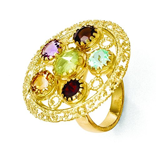 JewelryWeb Sterling Silver Textured Polished Adjustable Gold-Flashed Multi-color Gemstone Adj. Ring