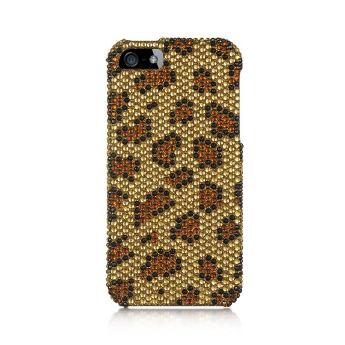 - Dream Wireless Full Diamond Case for iPhone 5/5S - Retail Packaging - Gold Leopard