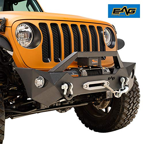 EAG 2007-2019 Jeep Wrangler JL JK Front Bumper Black Rock Crawler With OE Fog Light Hole and Winch Plate