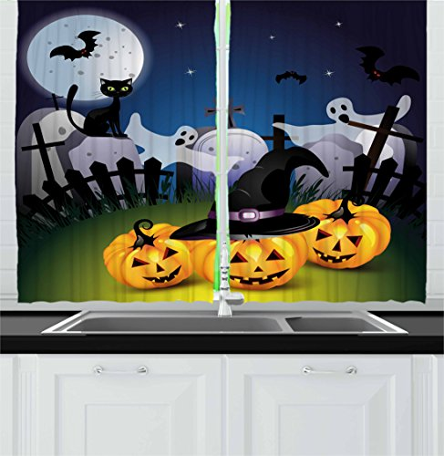 ... Multicolor · Halloween Kitchen Curtains By Ambesonne, Funny Cartoon  Design With Pumpkins Witches Hat Ghosts Graveyard Full