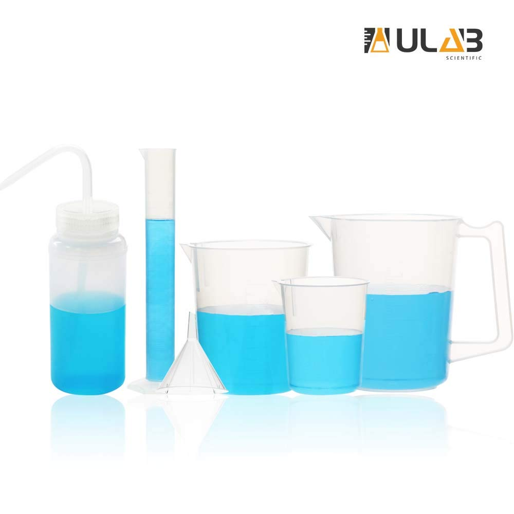ULAB Scientific Experiment Kit, Plastic Beakers, Measuring Cylinder, Plastic Funnel and Wide-Mouth Wash Bottle, UBP1009 by ULAB