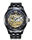 Men's Fashion Mechanical Self-wind Black Skeleton Stainless Steel Band Waterproof Wrist Watch