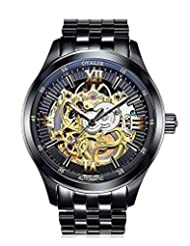 Men's Fashion Mechanical Self-wind Waterproof Stainless Steel Skeleton Watch With Gold Dial