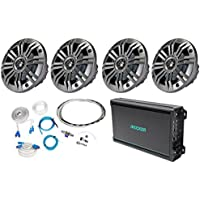 (4) Kicker41KM652C 6.5 390w Marine Boat Speakers+4-Channel Amplifier+Amp Kit