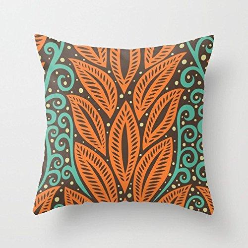 Rdsfhsp Blue Orange And Brown Retro Hawaiian Polynesian Floral Tattoo Design Cushion Covers Throw Pillow Covers For Decorating Sofa Car Bedroom Etc Or Gifts Cotton 18x18 (Hawaiian Tattoo Designs)