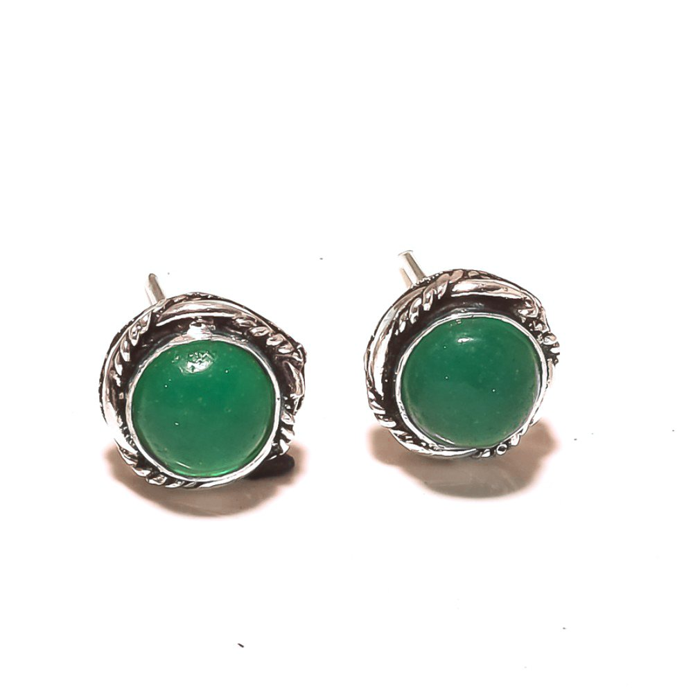 Handmade Art Jewelry Ancient Style Green Onyx Sterling Silver Plated 5 grams Stud// Earring 10mm