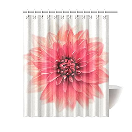 InterestPrint Big Blooming Flower Home Decor Dahlia Floral Art Polyester Fabric Shower Curtain Bathroom Sets