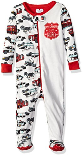 The Children's Place Boys' Stretchie Pajamas, Grandpa Hero/Simply White, 3-6 Months