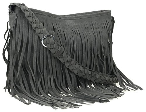 Ayliss Hippie Suede Fringe Tassel Messenger Bag Women Hobo Shoulder Bags Crossbody Handbag,Gray