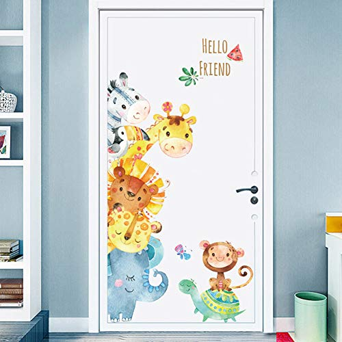 Door Cartoon - Cartoon Animals Wall Stickers DIY Children Mural Decals for Kids Rooms Baby Bedroom Wardrobe Door Decoration (Animal)