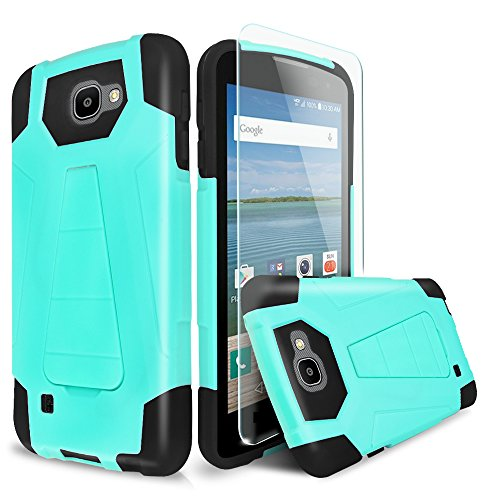 For LG Optimus Zone 3/LG Spree/LG Rebel VS425/LG K4 L44VL Case With TJS® Tempered Glass Screen Protector Included, Dual Layer Shockproof Hybrid Armor Drop Protection Built-in Kickstand (Black/Teal) (Lg Phone Case Optimus compare prices)