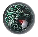 LCM Home/Office Glass Paperweight Green Dragon Black Background 3'' W 22033