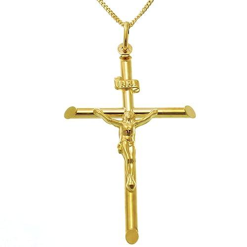 Groß 9Karat Gold Kruzifix Kreuz Anhänger Halskette mit 45,7cm Gold Kette