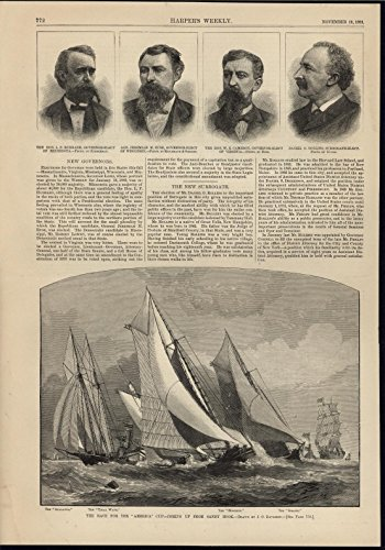Race of America Cup Yacht Racing New Jersey Coast 1881 nice antique print