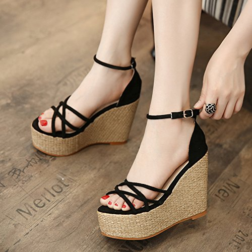 SHOESHAOGE Pendiente Inferior Grueso Con Sandalias Romanas Con Ultra Alta Zapatos Impermeables Expuestas Taiwán Dew-Toe Dulce Zapatos De Mujer ,Eu39 EU37