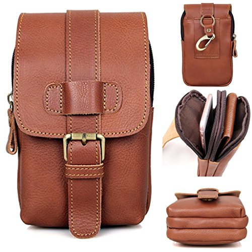 Fanny Pack, Clean Vintage Waist Belt Phone Purse Hip Bag Pouch Leather (Vintage Brown)