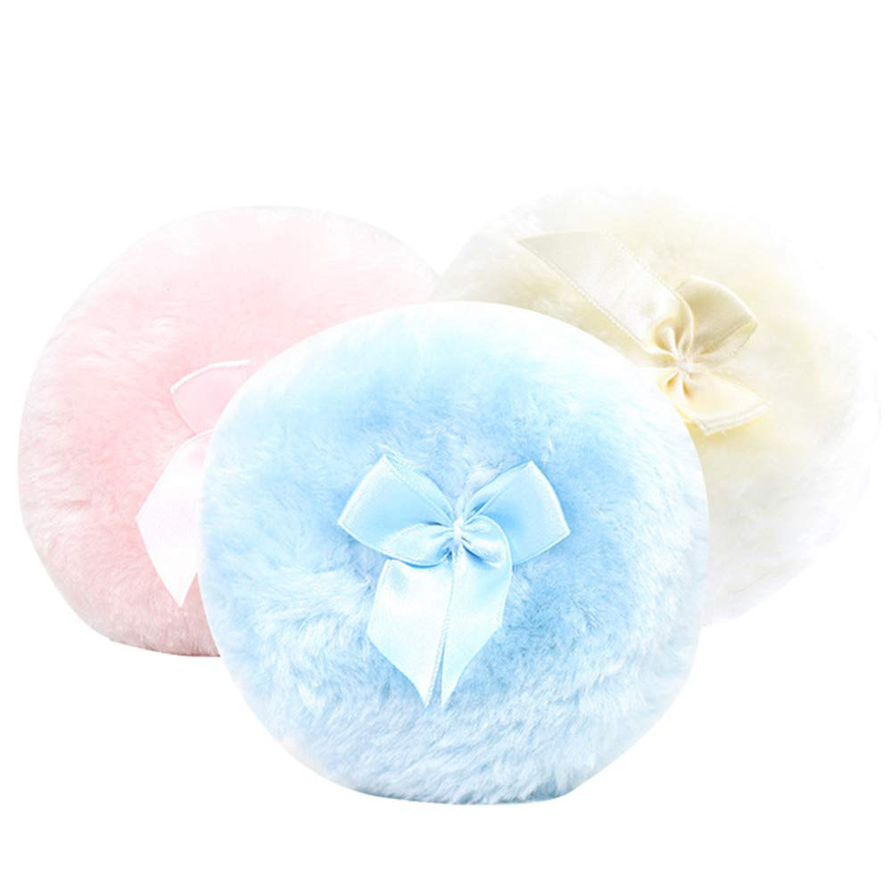Body Dusting Powder Puffs, Soft Sponge Talcum Powder Makeup Cosmetic Plush Sponges 3 pcs OCJEDEEE