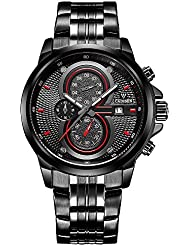 Baogela Mens Black Dial Military Stainless Steel Chronograph Quartz Wrist Watch