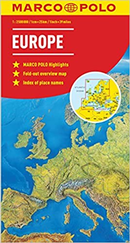 Map Of The Uk And Europe.Europe Marco Polo Map Marco Polo Maps Amazon Co Uk Marco Polo
