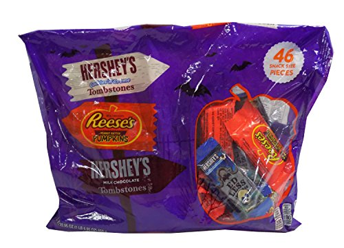 Hershey's Cookies'n'Cream TOMBSTONES, Reese's Peanut Butter PUMPKINS, Hershey's Milk Chocolate TOMBSTONES Halloween Variety Pack - 46 Snack Sized Pieces 22.95 oz (Halloween Cookies Target)