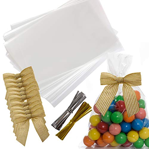 VANILILA Clear Cellophane Bags 200ct with Ties & 10 Bows- 6