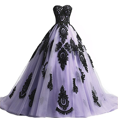 Black Lace Long Tulle A Line Prom Dresses Evening Party Corset Gothic Wedding Gowns Lavender US 22W
