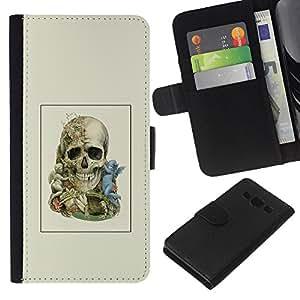 NEECELL GIFT forCITY // Billetera de cuero Caso Cubierta de protección Carcasa / Leather Wallet Case for Samsung Galaxy A3 // Dos cráneo Faced