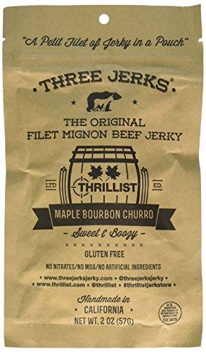 Three Jerks Filet Mignon Beef Jerky - Premium Natural Gourmet Maple Bourbon Churro (Maple Bourbon Churro, 1 Package)