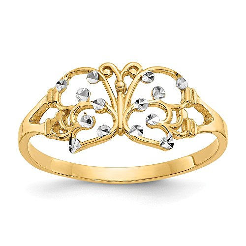 14k Yellow Gold Butterfly Band Ring Size 6.00 Animal Fine Jewelry Gifts For Women For Her