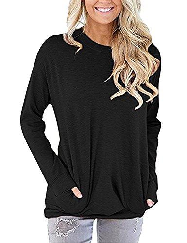 Spandex Jumper (BAISHENGGT Women Solid Color Round Neck Casual Loose Long Sleeve Sweatshirt T-Shirts Tops Blouse Black Medium)