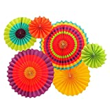 Set of 12 Vibrant Colorful Hanging Paper Fans Rosettes Party Decorations Fiesta Party Supplies Photo Props for Wedding Birthday Baby Shower Event (Style 1)