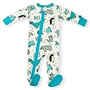Earthy Organic Baby Sleeper 2-Way Zipper Pajamas Boy Girl (9 Sizes: Preemie-3T) 100% Organic Cotton (Newborn- Footed, Origami Grey)