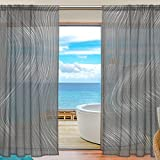SAVSV Sheer Window Curtain Panels Long Voile Drapes Fashion Morden Gray Abstract Design 55″ W x 78″ L Set Of 2 For Living Room Bedroom Kitchen Window Review