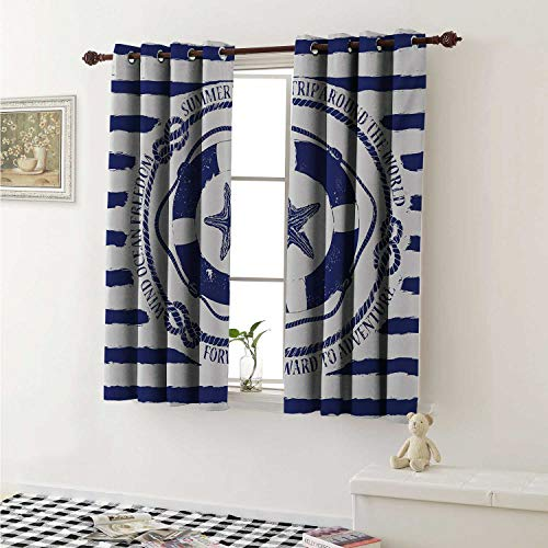 (Starfish Customized Curtains Trip Around The World Nautical Emblem with Lifebuoy Starfish Striped Design Curtains for Kitchen Windows W63 x L45 Inch Navy Blue White)